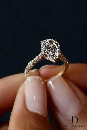 jean dousset engagement rings yellow gold pave band solitaire pear shaped diamond 19