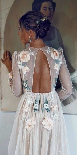 long sleeve wedding dresses a line blush floral applique open back backless maorlan