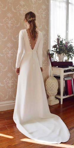long sleeve wedding dresses a line open v back modest simple aliciarueda atelier