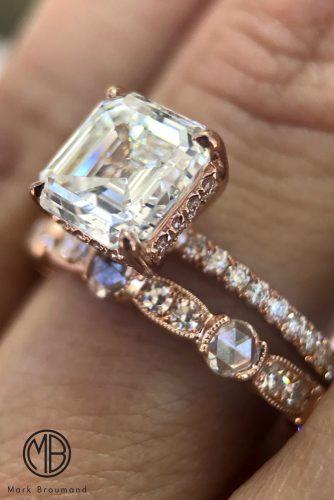 mark broumand engagement rings diamond solitaire wedding set rose gold pave band cushion cut