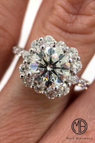 mark broumand engagement rings floral halo round cut pave band white gold diamond