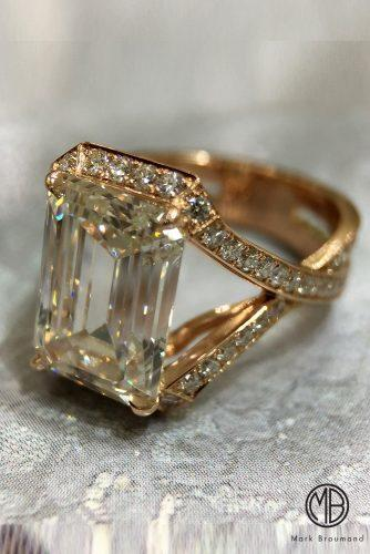 mark broumand engagement rings pave band twist yellow gold emerald cut diamond