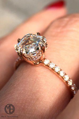 mark broumand engagement rings rose gold pave band solitaire diamond unique cushion cut