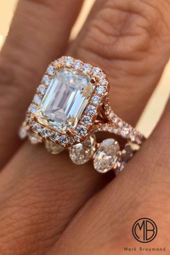mark broumand engagement rings rose gold split pave band set halo emerald cut