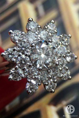 mark broumand engagement rings unique snowflake round cut halo diamond