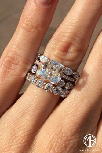mark broumand engagement rings wedding set stackable ring pave band cushion cut diamond
