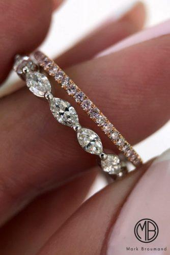 mark broumand engagement rings white gold rose gold diamond pave band marquise cut