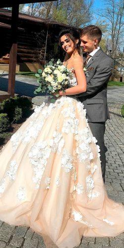 milla nova real brides ball gown cappuccino off the shoulder floral applique wedding dresses