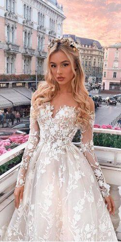milla nova wedding dresses a line sweetheart neck lace floral applique long sleeve