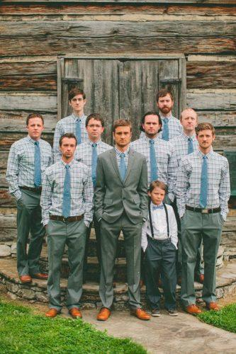 plaid shirt grey suit tie rustic groom attire brandon chesbro