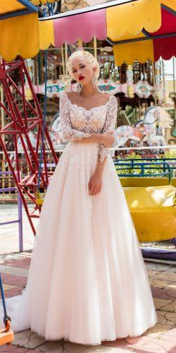 pollardi fashion group 2018 wedding dresses a line blush sweetheart neck long sleeves lace daria karlozi free camelia