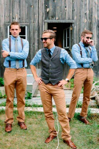 rustic groom attire casual blue t shirt tweed waistcoat pants dan stewart