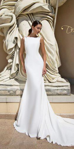trumpet simple bateau neck sleeveless tina valerdi wedding dresses catalina