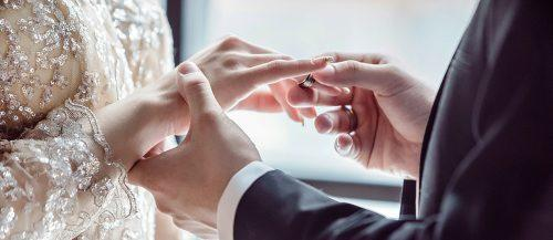 wedding ceremony couple bride and groom ring featured