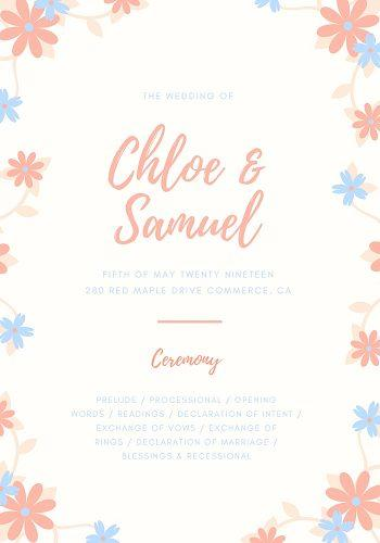 wedding program template beach wedding program template