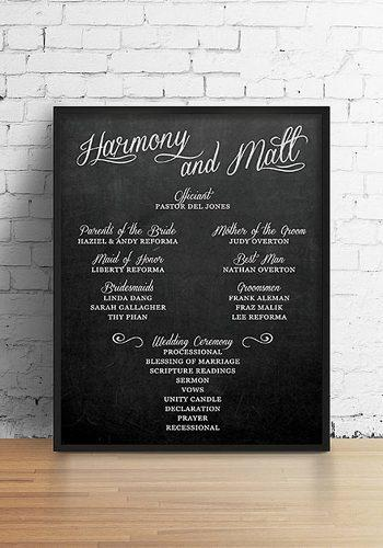 wedding program template chalkboard