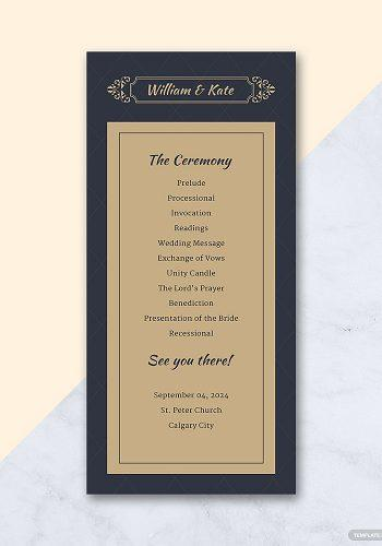 wedding program template elegant catholic wedding program template