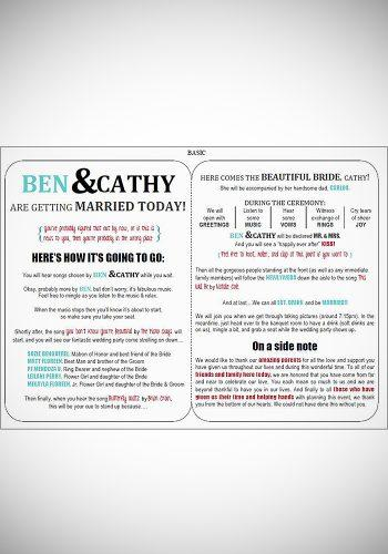 wedding program template funny double sided template