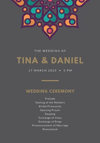 wedding program template printable wedding program template