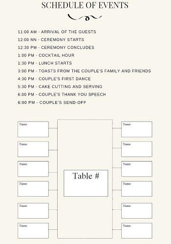 wedding program template seating chart wedding program template