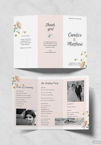 wedding program template tri fold wedding program template