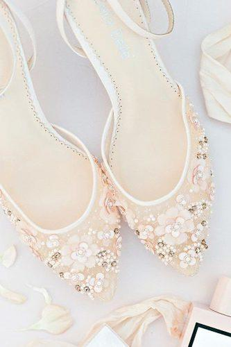 wedding shoes trends ankle straps low heel hand beaded bella belle rosa blush