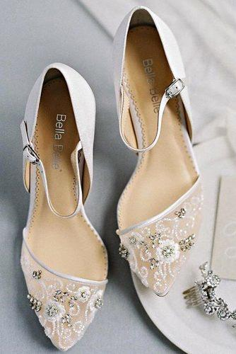 976f9804266 wedding shoes trends low heel floral hand beaded ankle straps bella belle  may ivory