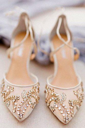 wedding shoes trends strappy hand beaded low heel bella belle frances champagne