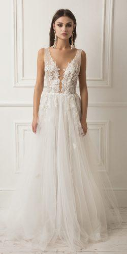 a line deep plunging v neck lace embellishment with straps lihi hod wedding dresses
