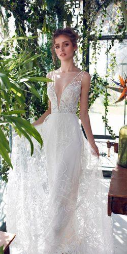 a line flowy lace illusion straps deep v neck wedding dresses 2019 limor rosen