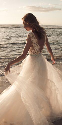 beach wedding dresses ball gown open v back lace sleeveless flowy tulle daalarna