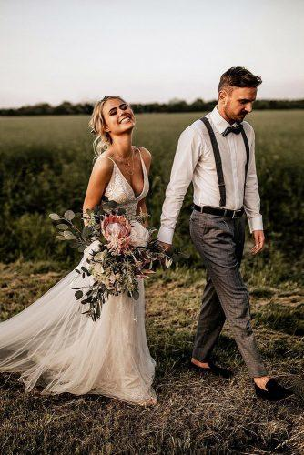 bohemian groom attire with suspenders bow tie chrisand ruth