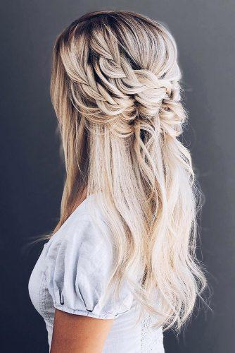boho wedding hairstyles blonde hair long half up half down with unique braids hairandmakeupbysteph