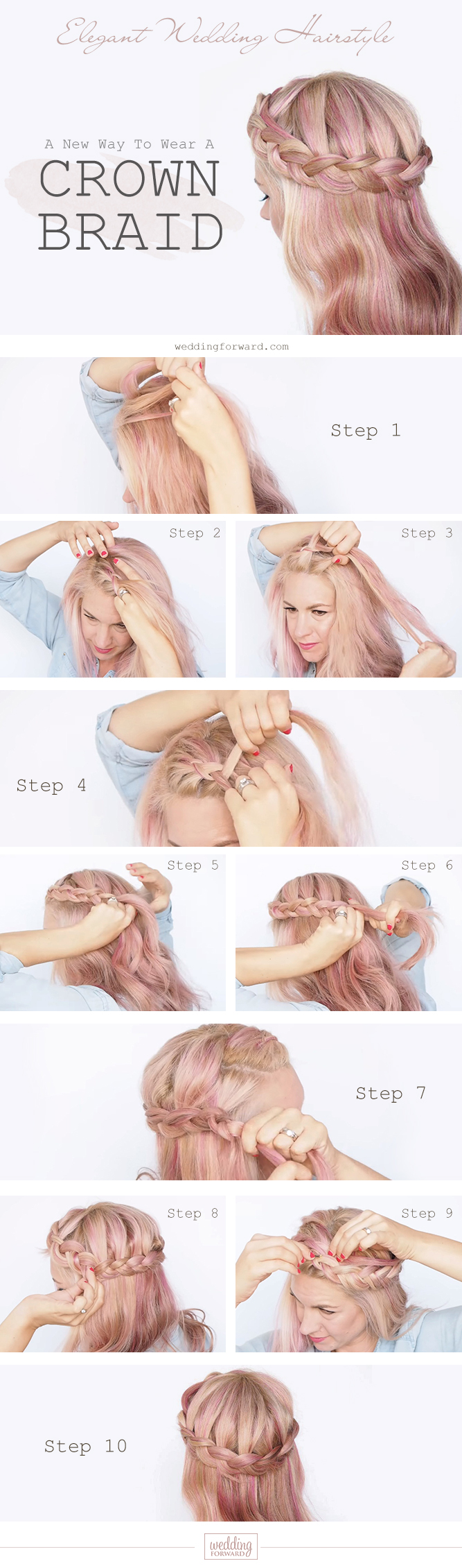 boho wedding hairstyles braided crown tutorial