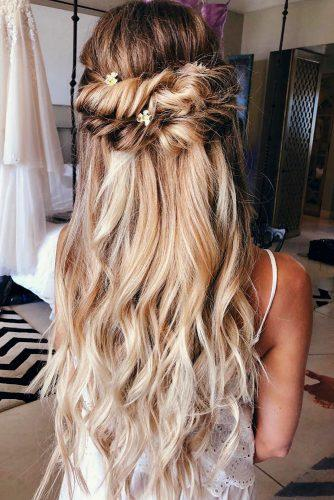 boho wedding hairstyles half up half down on blonde hair with mermaid braid taylor_lamb_hair