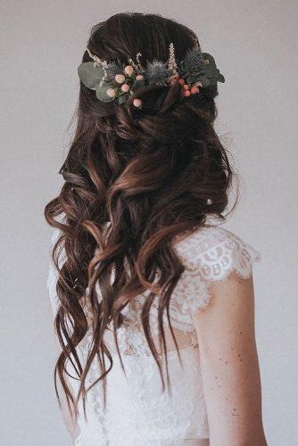 boho wedding hairstyles half up half down on wavy hair with flowers waves ninanolepahairandmakeupdesign
