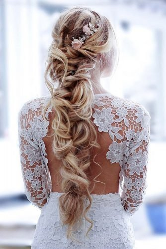 boho wedding hairstyles long blonde hair down with flowers inspobyelvirall