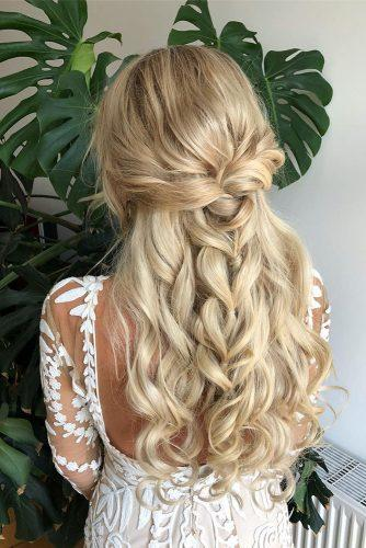 boho wedding hairstyles long blonde hair half up half down with braid gleamblush