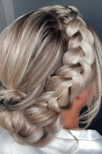 boho wedding hairstyles low updo swept bun with side braid thestyleroomgc