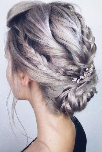 boho wedding hairstyles low updo with braids on silver hair with hairpin lenabogucharskaya
