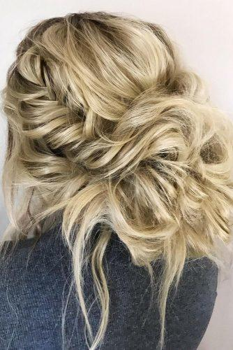 boho wedding hairstyles messy low volume bun swept blonde medium hair svglamour