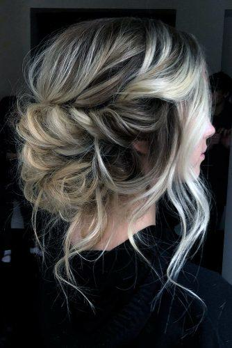 boho wedding hairstyles messy swept low updo swept on ombre blonde hair with loose curls hairbytheresa