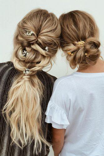 boho wedding hairstyles swept updo and pontail with flowers on blonde hair hairbykaitlynbrown