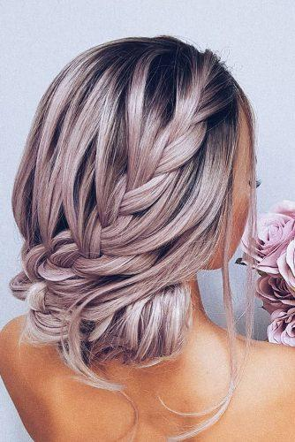 boho wedding hairstyles updo with side braid on pink hair hairbyhannahtaylor