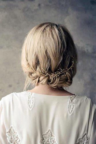 boho wedding hairstyles updowith braid and gold halo alisonrjenner via instagram