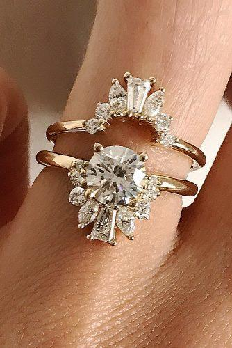 bridal sets round cut diamond solitaire rose gold unique band