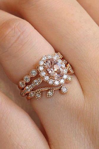 bridal sets oval cut morganite rose gold vintage