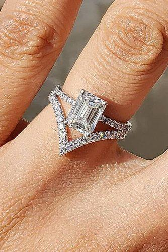 bridal sets solitaire diamond emerald cut white gold pave band