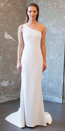 casual wedding dresses one shoulder sheath simple modern romona keveza