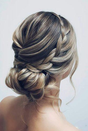 classical wedding hairstyles elegant low bun with side braids hairbyhannahtaylor
